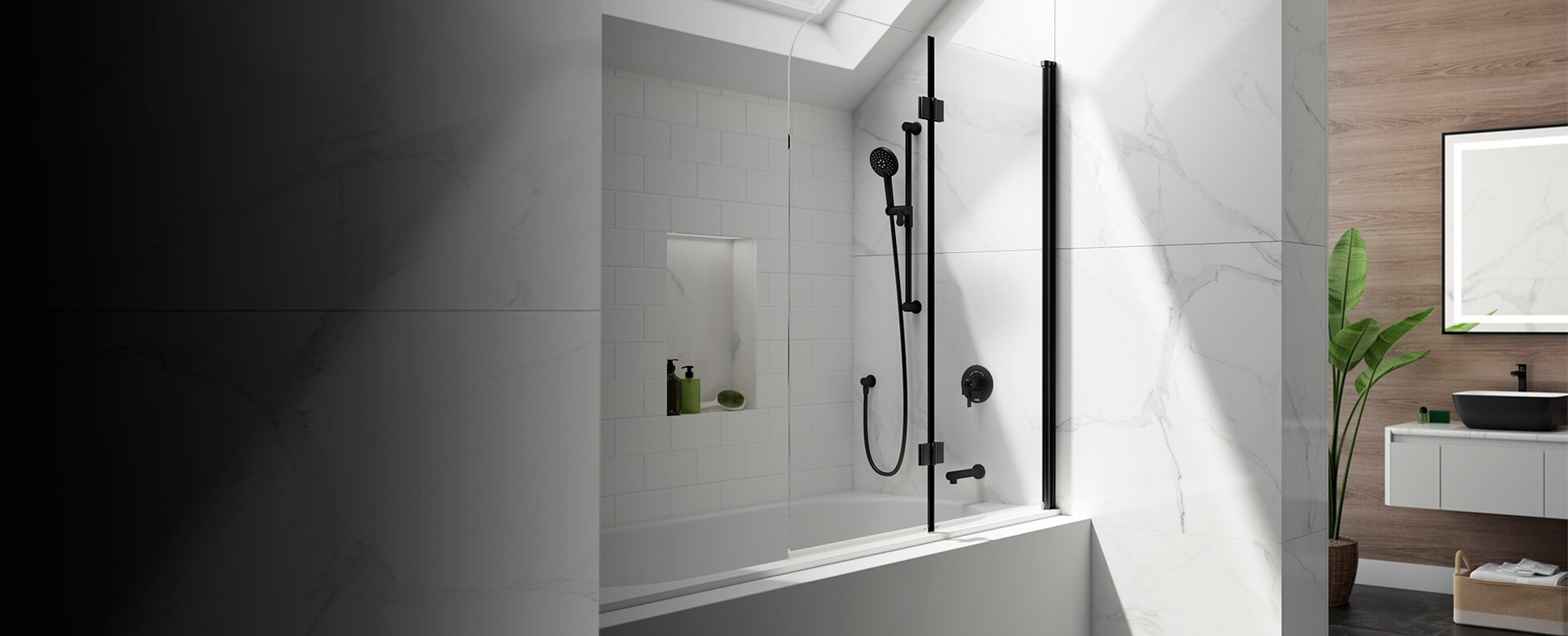 porte de douche flip noir mat